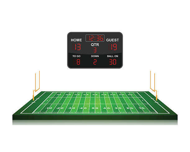 american football field with scoreboard,vector - football field stock illustrations