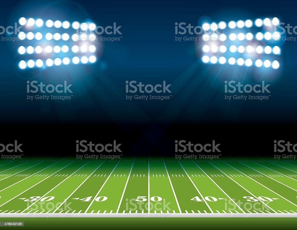 Estadio campo de fútbol americano con luces - ilustración de arte vectorial