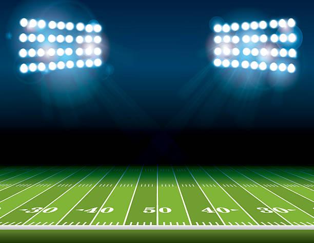 ilustrações de stock, clip art, desenhos animados e ícones de campo de futebol americano com luzes do estádio - primeiro down futebol americano