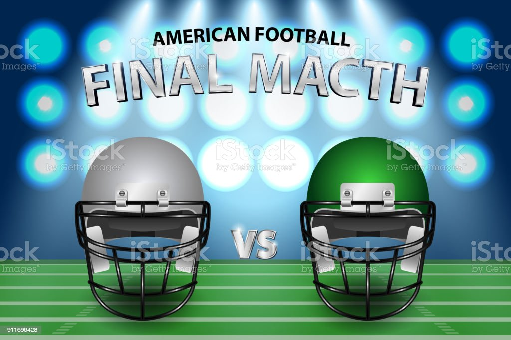 American football final match concept. Silver and green Helmets on field with spotlight background. Vector Illustration.