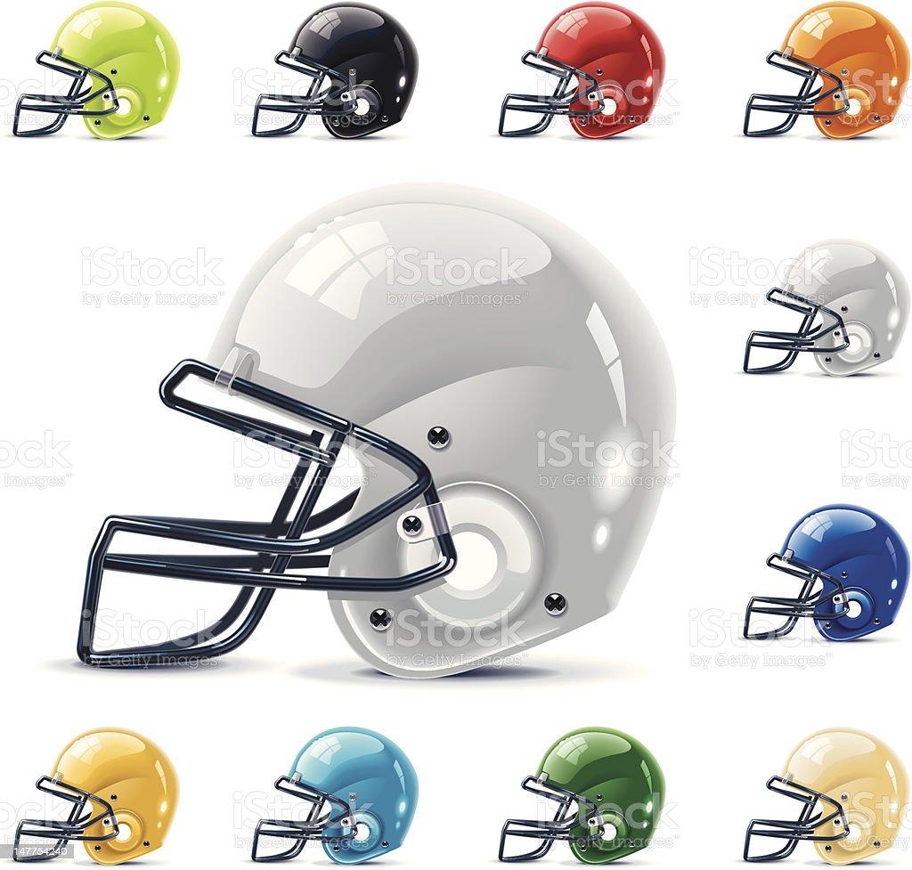 American football / gridiron helmets vector art illustration