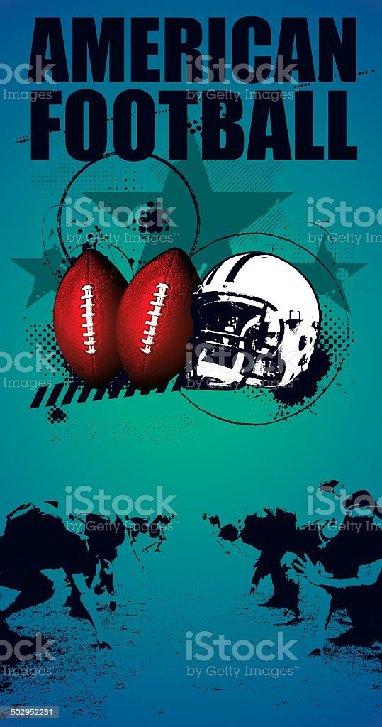 american football grunge poster vector art illustration
