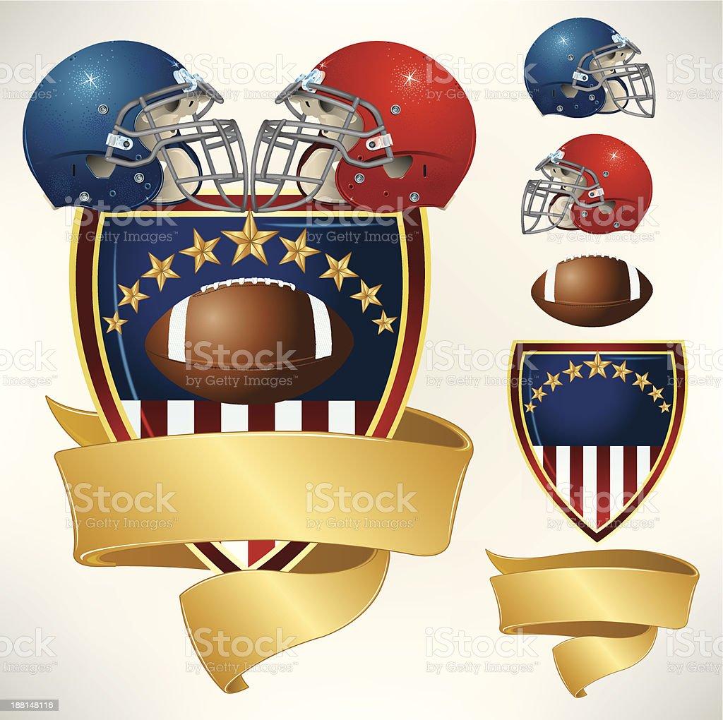 American Football Helmet All-Star Banner Background vector art illustration