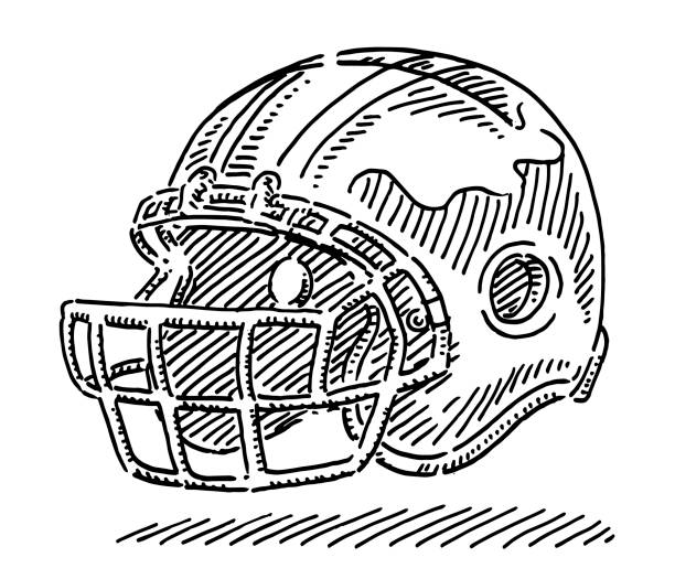 American Football Helmet Drawing Hand-drawn vector drawing of an American Football Helmet. Black-and-White sketch on a transparent background (.eps-file). Included files are EPS (v10) and Hi-Res JPG. american football stock illustrations