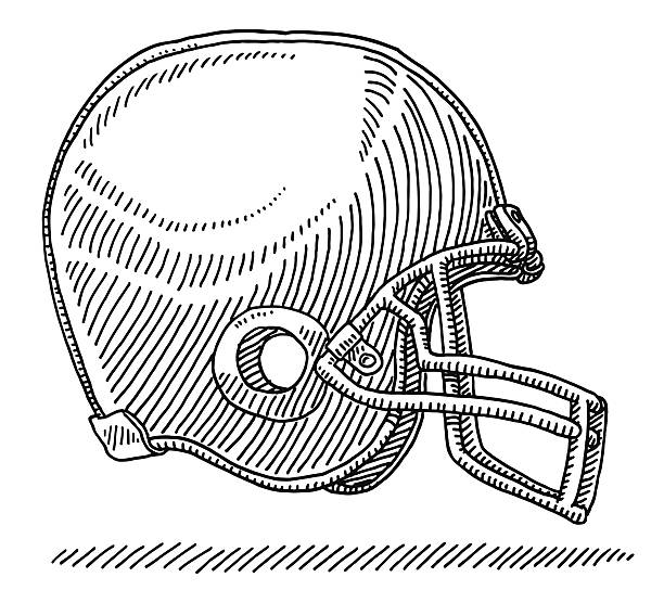 American Football Helmet Side View Drawing Hand-drawn vector drawing of an American Football Helmet, Side View. Black-and-White sketch on a transparent background (.eps-file). Included files are EPS (v10) and Hi-Res JPG. american football stock illustrations