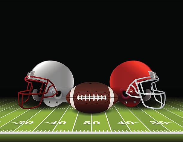 ilustrações de stock, clip art, desenhos animados e ícones de capacetes de futebol americano no campo e controlo da bola - primeiro down futebol americano