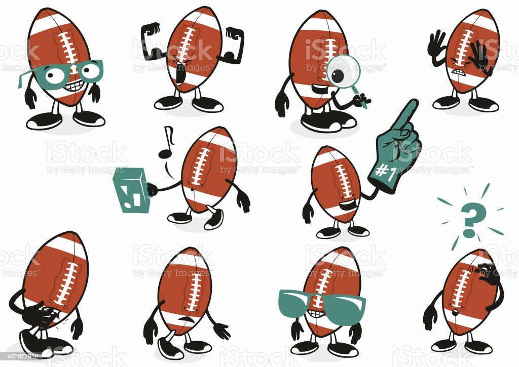 American Football Icon characters vector art illustration