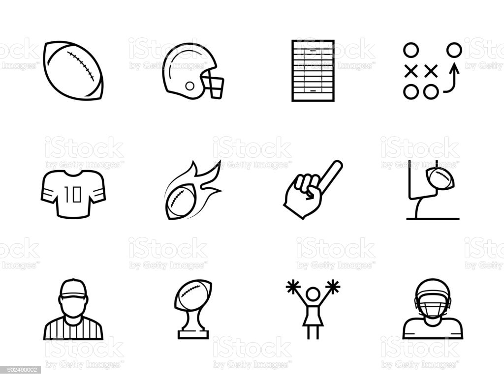 American football icon set in thin line style vector art illustration