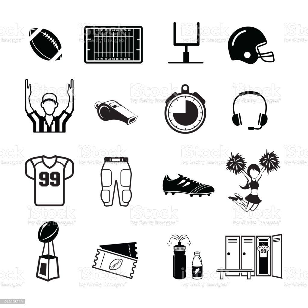 American football icon vector art illustration