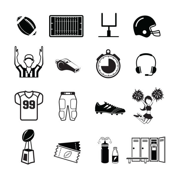 American football icon 16 American football icon,,Simple clearly defined shapes in one color.Vector football helmet stock illustrations