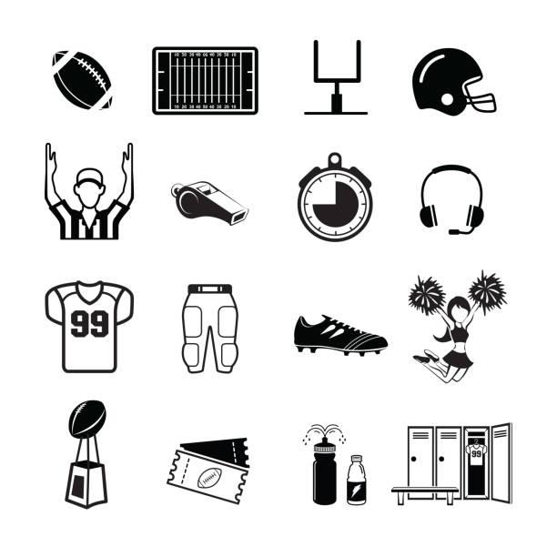 ilustraciones, imágenes clip art, dibujos animados e iconos de stock de icono de fútbol americano - american football