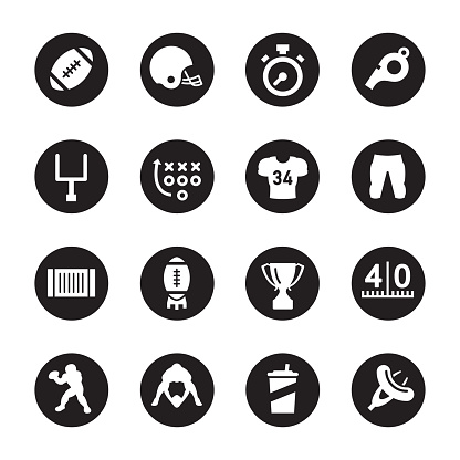 American Football Icons - Black Circle Series
