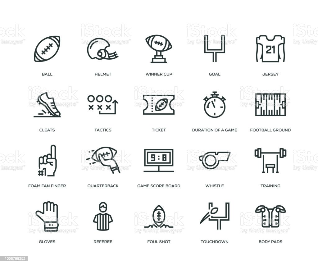 American Football Icons - Line Series vector art illustration