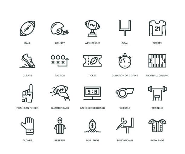 american football icons - line series - football stock illustrations, clip art, cartoons, & icons