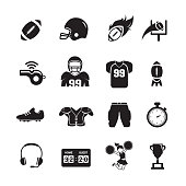 American Football Icons, Set of 16 editable filled, Simple clearly defined shapes in one color, Vector