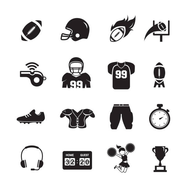 American Football Icons American Football Icons, Set of 16 editable filled, Simple clearly defined shapes in one color, Vector american football uniform stock illustrations
