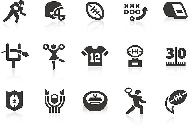 American Football icons Monochromatic American football related vector icons for your design and application. Raw style. Files included: vector EPS, JPG, PNG. american football uniform stock illustrations