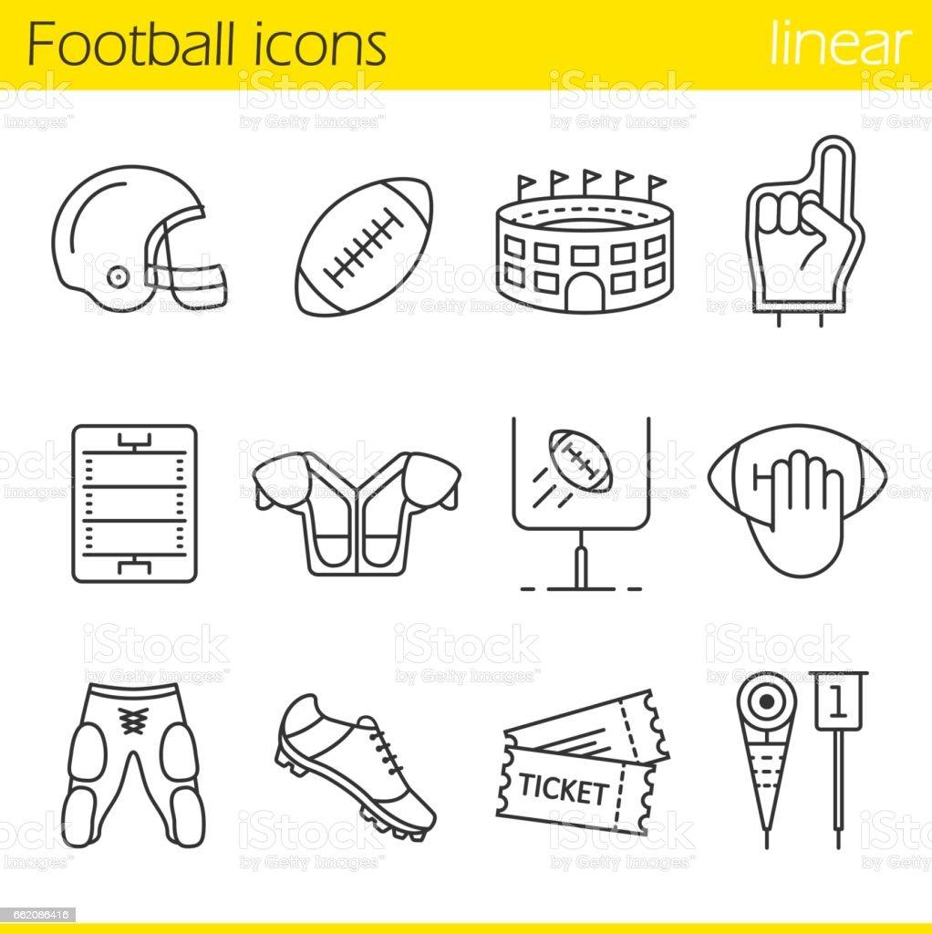 Iconos de fútbol americano - ilustración de arte vectorial