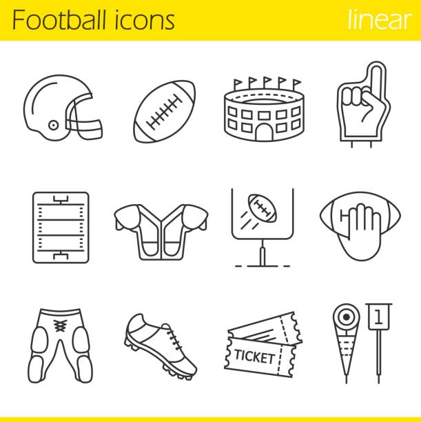 American football icons American football linear vector icons. Thin line. Helmet, shoulder pad, ball, shorts, Hand holding ball, goal sign,foam finger, game tickets, arena stadium stock illustrations
