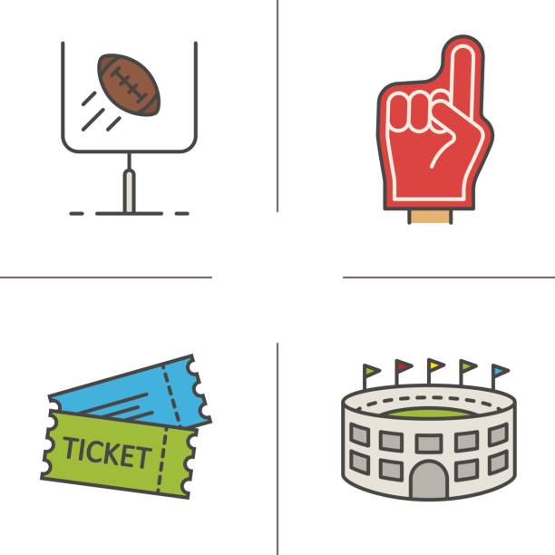 American football icons American football color icons set. Vector. Red foam finger, game tickets, baseball arena, goal sign american football league stock illustrations