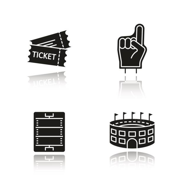 American football icons American football drop shadow vector icons set. Fans foam finger, game tickets, baseball arena, field scheme american football league stock illustrations