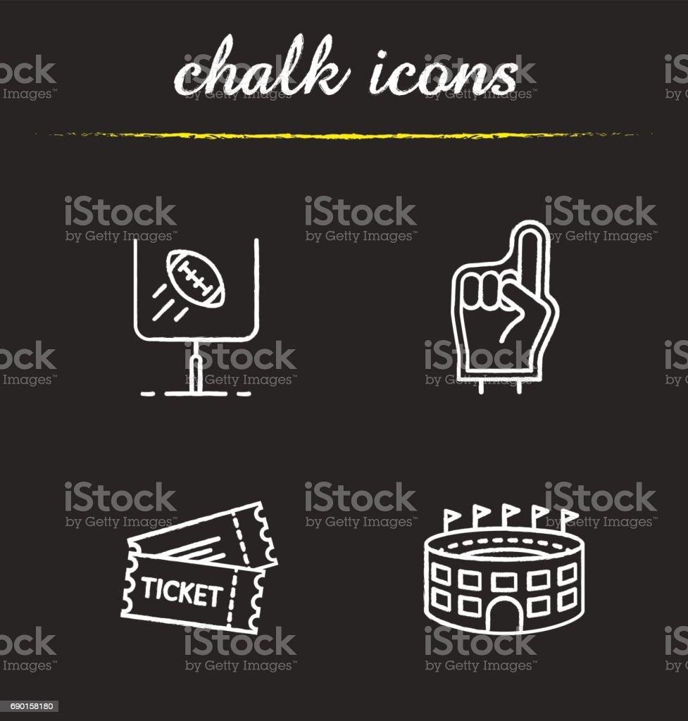 American football icons vector art illustration