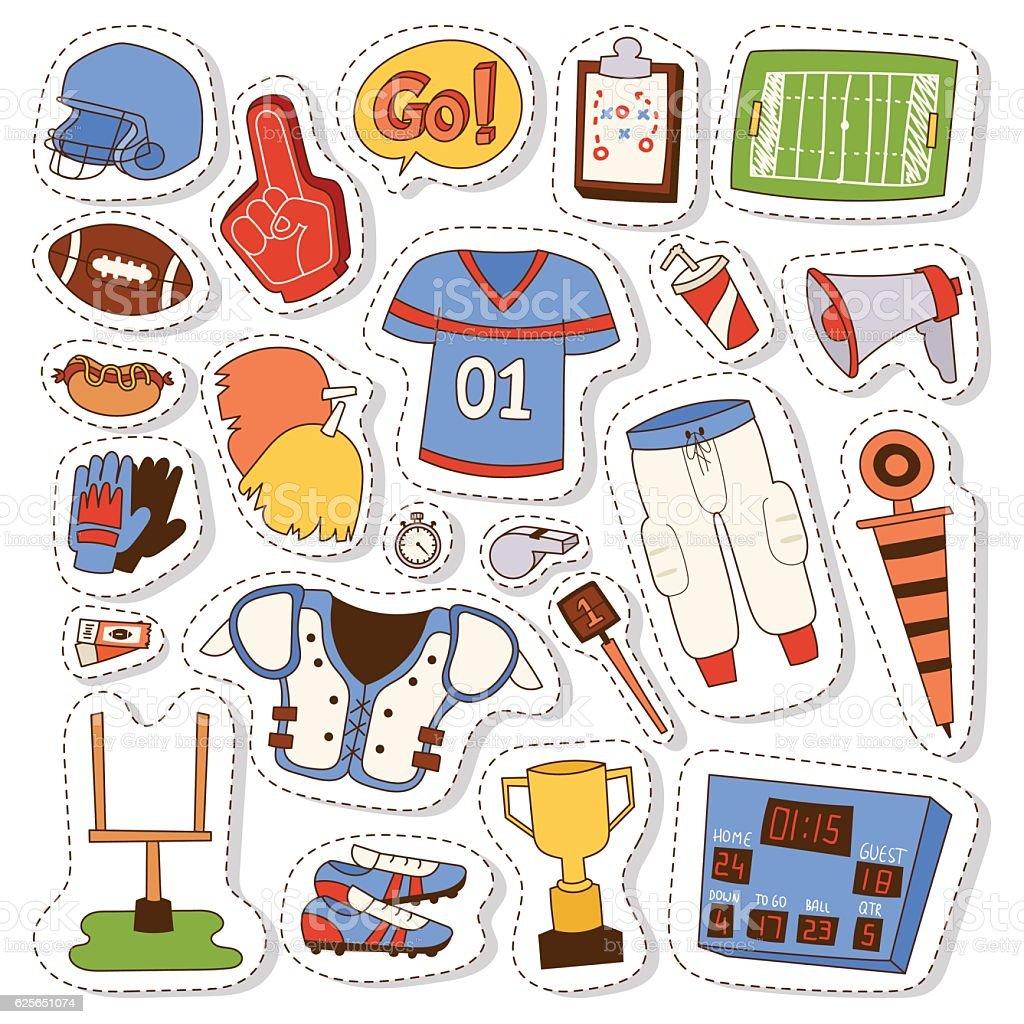 American football icons vector set. vector art illustration