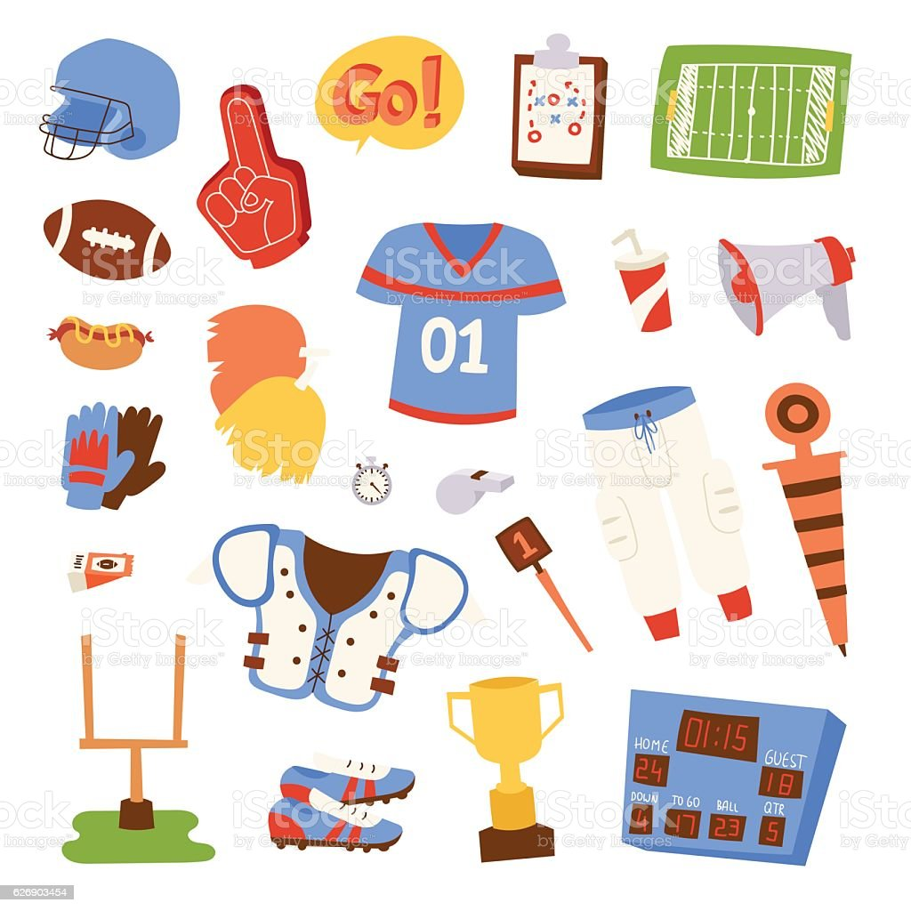 American football icons vector set. vector art illustration