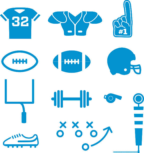 American Football Icons Vector A collection of simplified american football specific icons. This set include essential football equipment such as a helmet, jersey, shoulder pads, cleats, etc american football uniform stock illustrations
