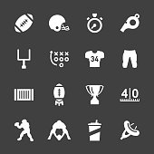American Football Icons White Series Vector EPS File.