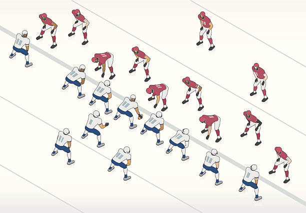 American Football Illustration American football players take formation at the line of scrimmage in this isometric illustration.  line of scrimmage stock illustrations