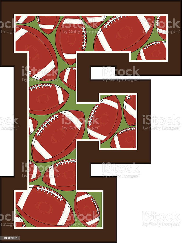 American Football Learning Letter F royalty-free stock vector art