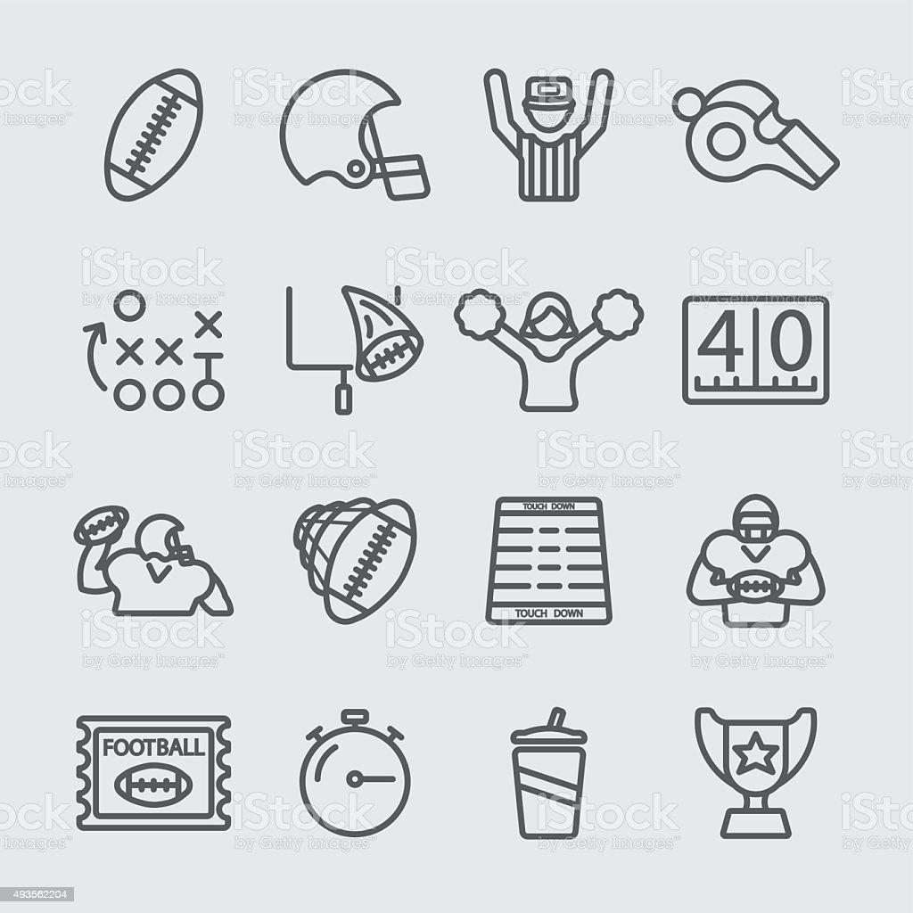 American football line icon vector art illustration