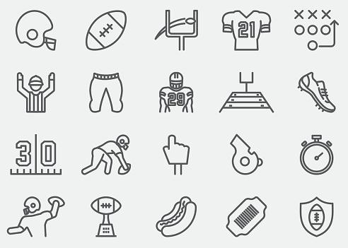 American Football Line Icons