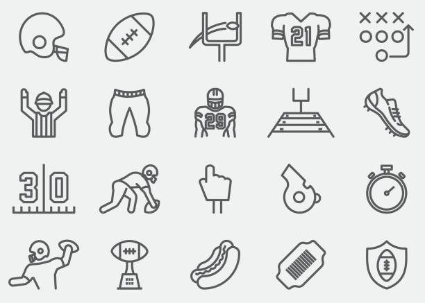 american football line icons - football stock illustrations, clip art, cartoons, & icons
