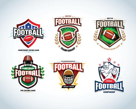 American football logo templates, badges, crests, t-shirts, labels, emblems, icons.