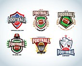 American football logo templates, badges, crests, t-shirts, labels, emblems, icons.