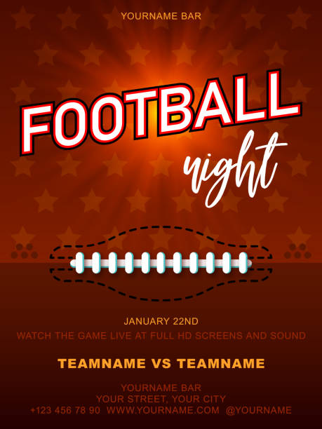 american football night. background give the perfect promotion for your upcoming college football or pro football screening. a flyer design perfect for tailgate parties, football invites - football stock illustrations