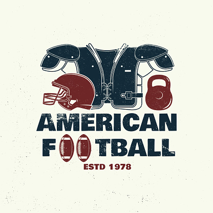American football or rugby club badge. Vector. Concept for shirt, logo, print, stamp, tee, patch. Vintage typography design with american football ball and helmet silhouette