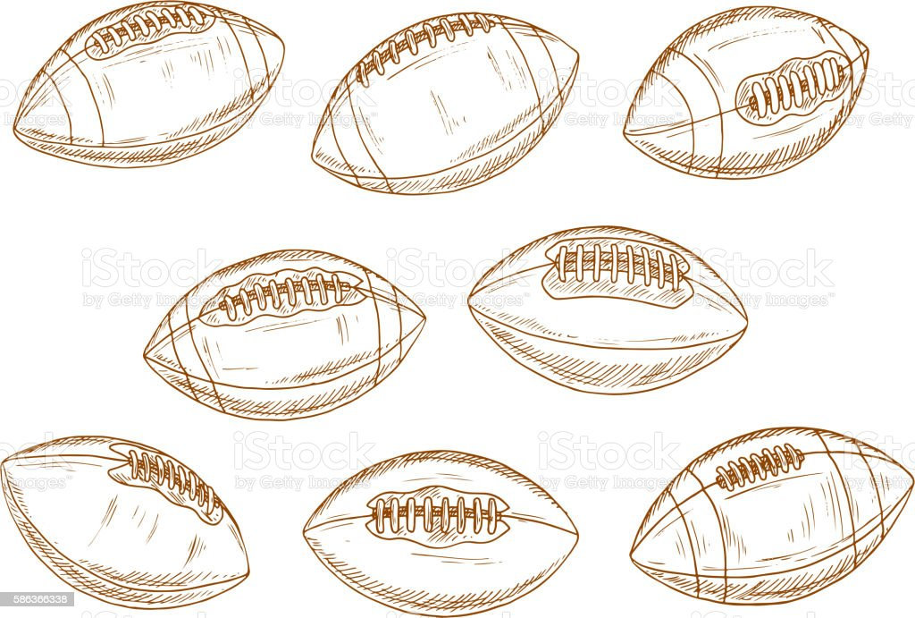 American football or rugby sports balls sketches vector art illustration