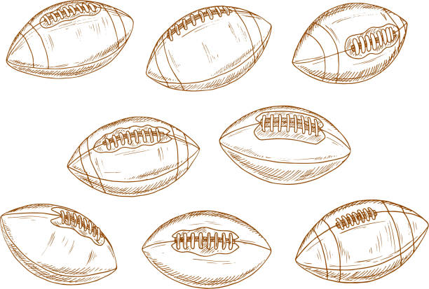 American football or rugby sports balls sketches - ilustración de arte vectorial