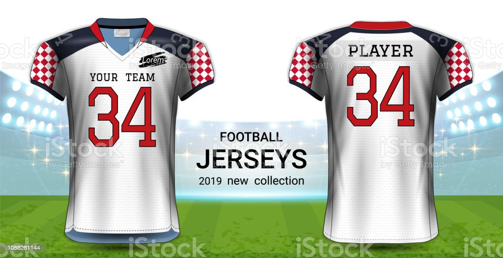 d11b2c953 American Football Or Soccer Jerseys Uniforms Realistic Graphic ...