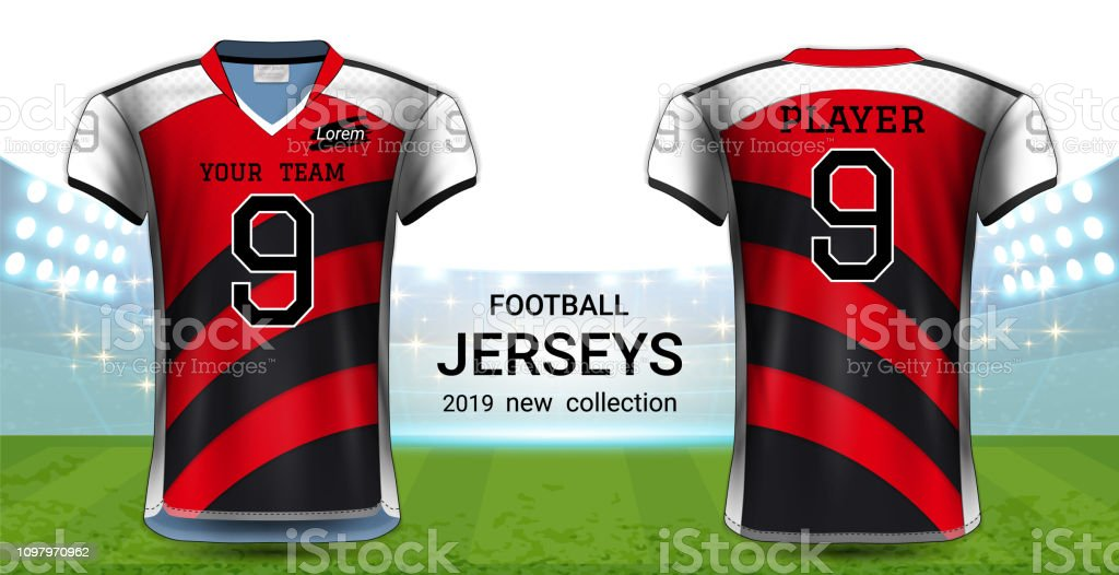 7a305dde052 American Football or Soccer Jerseys Uniforms, Realistic Graphic Design  Front and Back View for Presentation