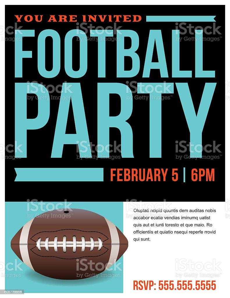 American Football Party Flyer Invitation Illustration Stock Vecteur