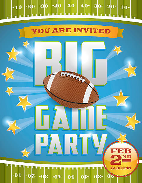 American Football Party Flyer A vector flyer design perfect for tailgate parties, football invites, etc. EPS 10.  ncaa college football stock illustrations