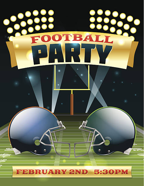 American Football Party Flyer A flyer design perfect for tailgate parties, football invites, etc. EPS 10. EPS file contains transparencies and gradient mesh. Text in EPS is layered for easy removal and customizing of your text. ncaa college football stock illustrations