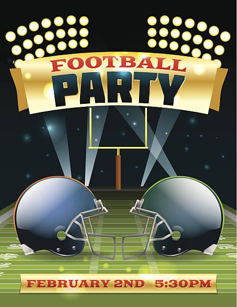 ilustrações de stock, clip art, desenhos animados e ícones de festa flyer de futebol americano - primeiro down futebol americano