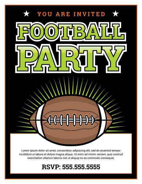 american football party invitation template background illustration