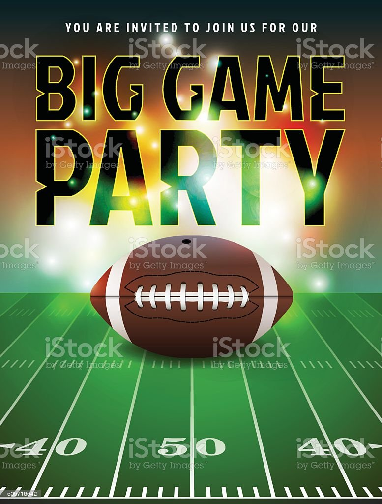 American Football Party Invitation vector art illustration