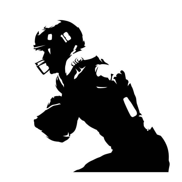 American football player, abstract isolated silhouette. Ink drawing. Team sport athlete American football player, abstract isolated silhouette. Ink drawing. Team sport athlete american football player stock illustrations